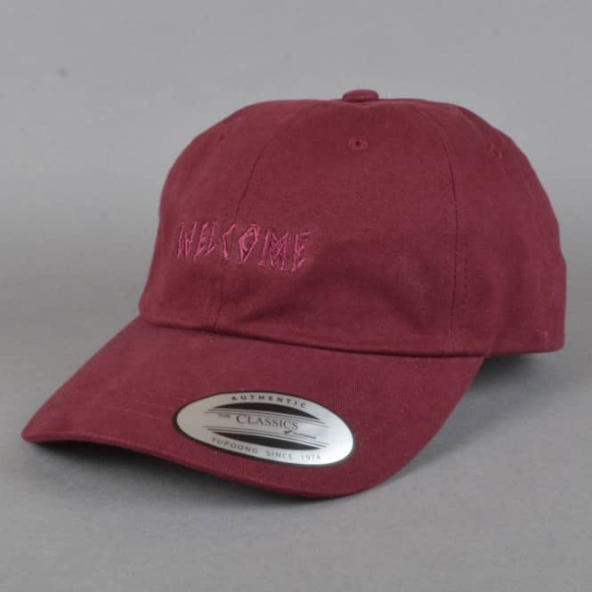 Welcome Skateboards Tonal Scrawl Unstructured Cap - Maroon