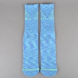 Triple Triangle Melange Crew Socks - Blue