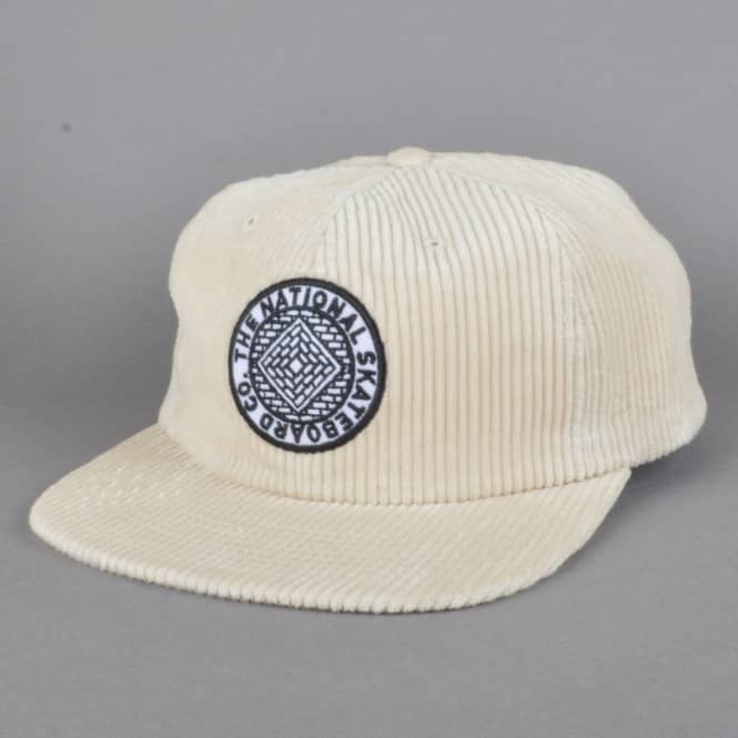 The National Skateboard Co. Unstructured Corduroy 6 Panel Cap - Cream