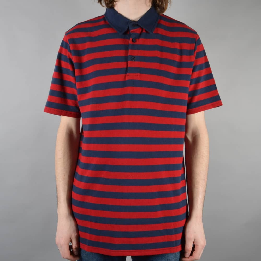 39b0526b0b Vans Chima Striped Polo Shirt - Chili Pepper Dress Blues - SKATE ...