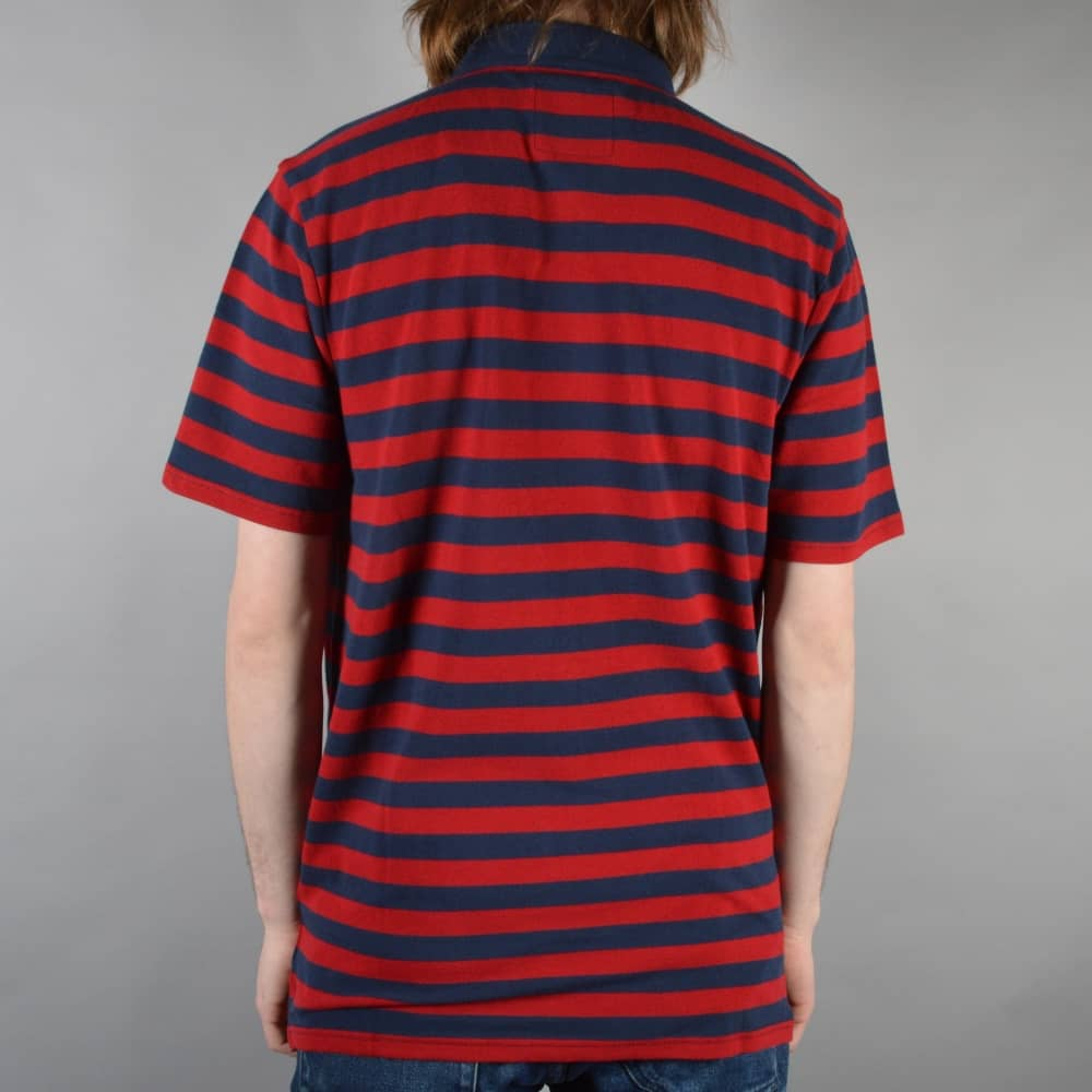 ba6eb348 Vans Chima Striped Polo Shirt - Chili Pepper/Dress Blues - SKATE ...