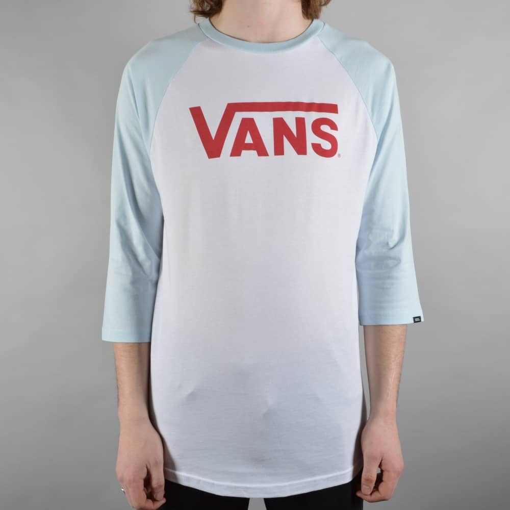 52802112d0 Vans Classic Raglan Skate T-Shirt - White Baby Blue - SKATE CLOTHING ...