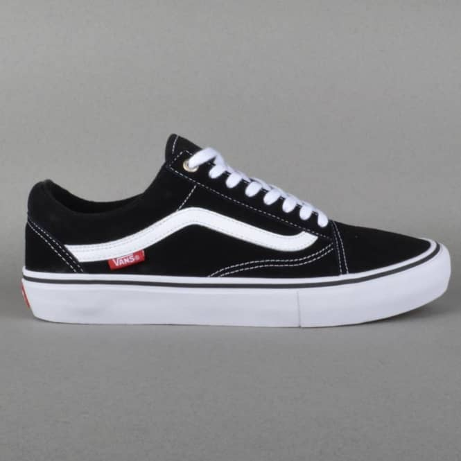 a84eb528fc2 Vans Old Skool Pro Skate Shoes - Black White Red - SKATE SHOES from ...