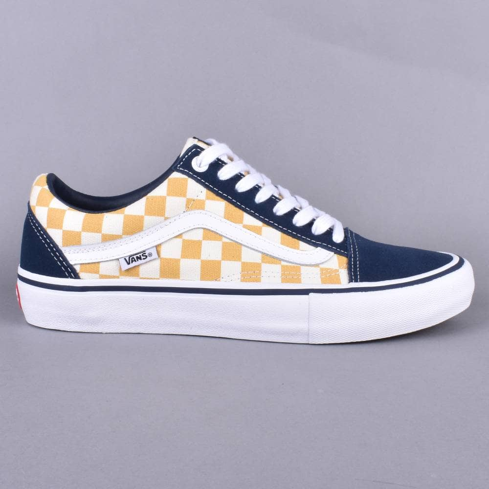 78e1fa8800e Vans Old Skool Pro Skate Shoes - (Checkerboard) Dress Blue Ochre ...