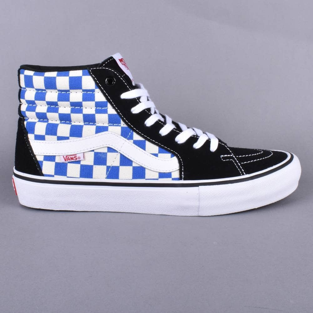 ad436e7752a7 Vans Sk8-Hi Pro Skate Shoes - (Checkerboard) Black Victoria BLue ...