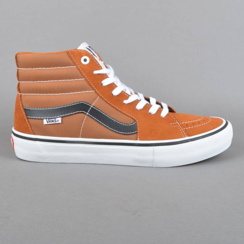 502746f8ea5 Vans Sk8-Hi Pro Skate Shoes - Glazed Ginger Black White - SKATE ...