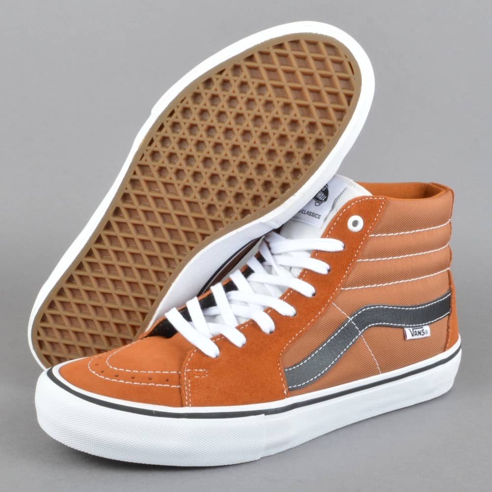 f5d3fa3099 Vans Sk8-Hi Pro Skate Shoes - Glazed Ginger Black White - SKATE ...