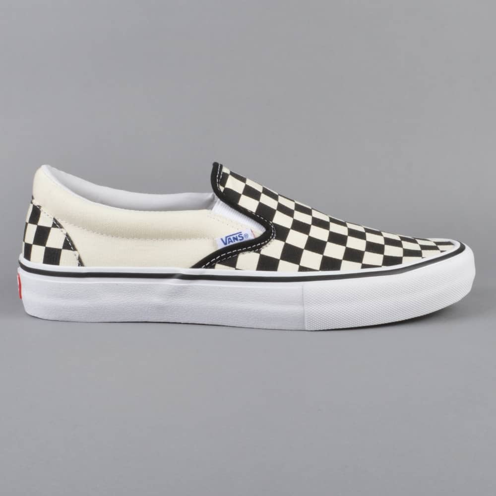 Slip-On Pro Skate Shoes - (Checkerboard) Black/White