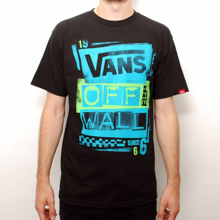 vans vans stenciled skate t shirt black turquoise vans from native skate store uk. Black Bedroom Furniture Sets. Home Design Ideas