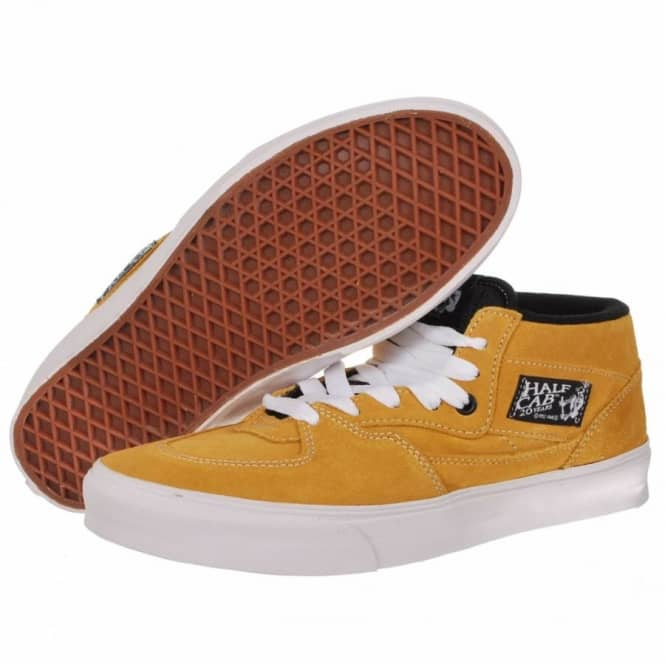 211ff0d8aa ... Vans Half Cab 20th Anniversary Butterscotch Skate Shoes ...