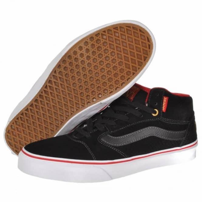 1094b6bc59 Vans TNT 5 Mid Spitfire Black Gold Skate Shoes - Mens Skate Shoes ...