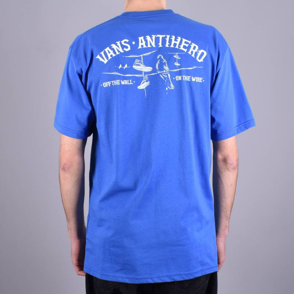 best loved 2ae7e 4d352 X Antihero On The Wire Skate T-Shirt - Royal Blue