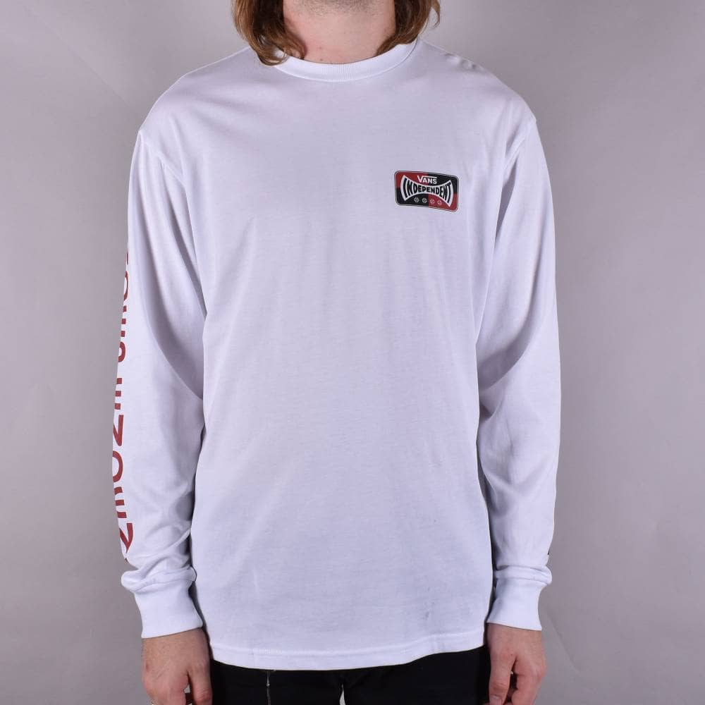 ded8ce8170 Vans X Independent Checkerboard Long Sleeve Skate T-Shirt - White
