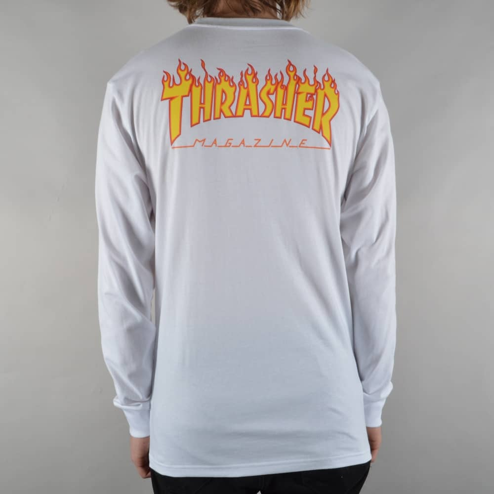 Vans x Thrasher Checker Longsleeve T-Shirt - White - SKATE CLOTHING ... f30c3a9cd455