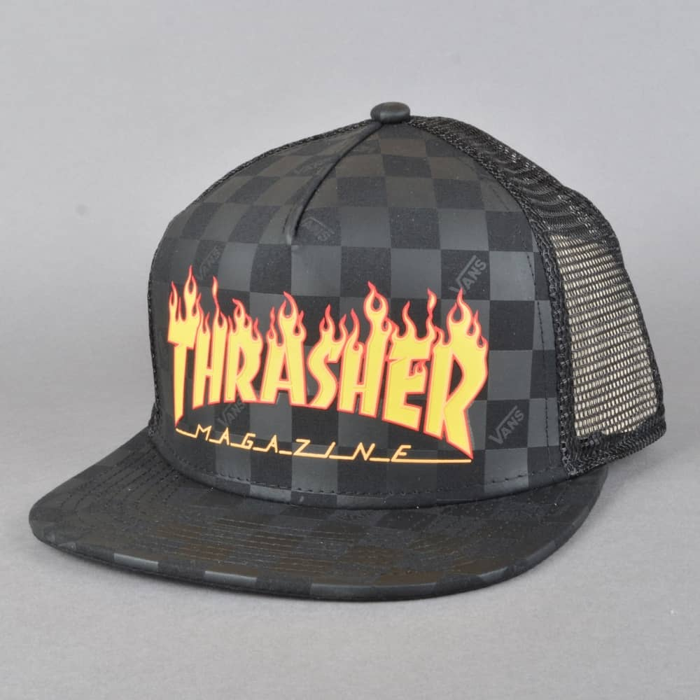 37c7e720afa Vans x Thrasher Flames Trucker Cap - Black - SKATE CLOTHING from ...