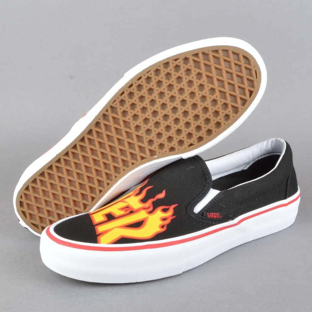 eb3d2262892 Vans x Thrasher Slip-On Pro Skate Shoes - (Thrasher) Black - SKATE ...
