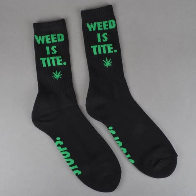 HUF Weed Is Tite Crew Socks - Black