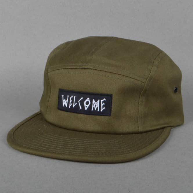 7b64be367a6 Welcome Skateboards Scrawl Camp 5 Panel Cap - Olive - SKATE CLOTHING ...