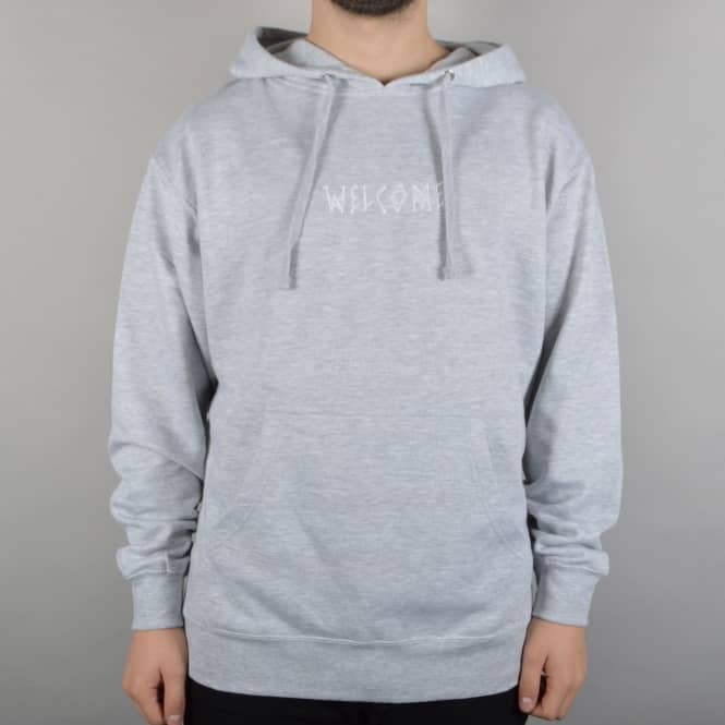 Welcome Skateboards Scrawl Embroidered Pullover Hoodie - Heather Grey