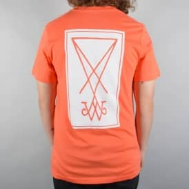 Welcome Skateboards Symbol Skate T-Shirt - Coral/White