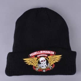 Winged Ripper Fold Up Beanie - Black