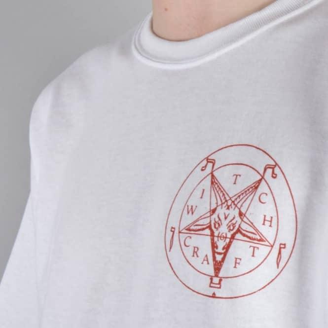 db87618e6532 Witchcraft Hardware Satan Skate T-Shirt - White/Red - SKATE CLOTHING ...