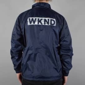 Line Drawn Logo Coaches Jacket - Navy