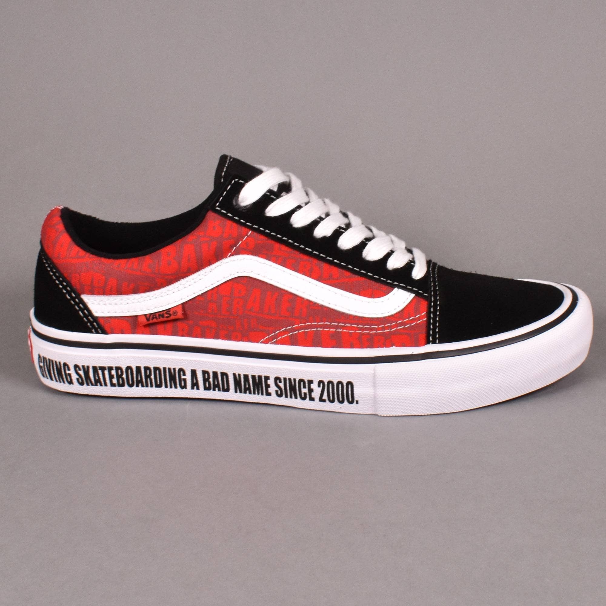 Vans x Baker Old Skool Pro Skate Shoes - Black/White/Red
