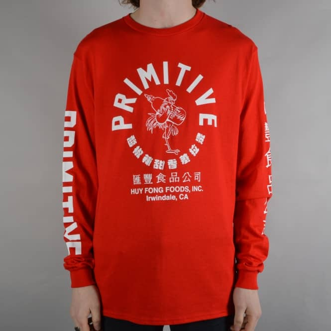 Primitive Skateboarding x Huy Fong Big Arch Rooster Longsleeve T-Shirt - Red