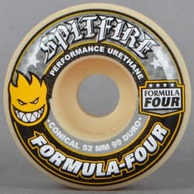 Yellow Print Conical 99D Formula Four Skateboard Wheels 52mm