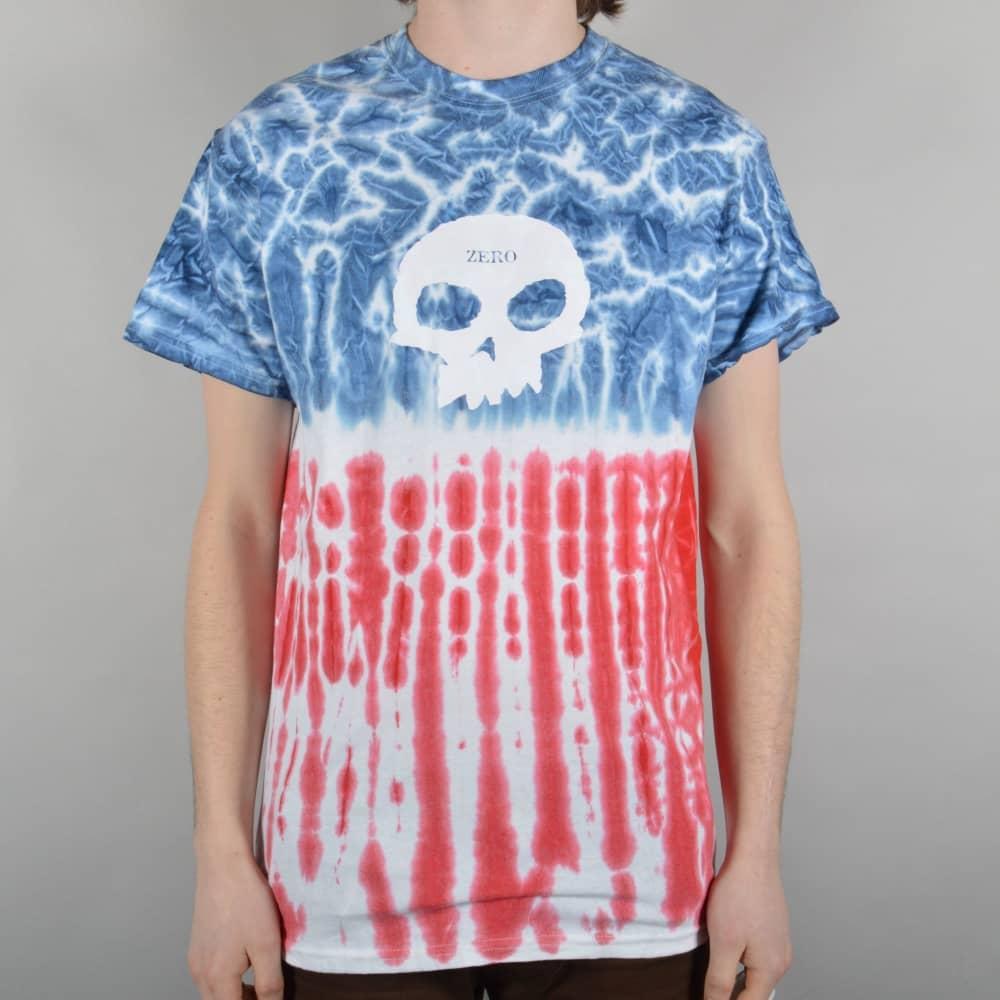 a36adb71 Zero Skateboards Americana Single Skull Tie-Dye Skate T-Shirt - Red ...