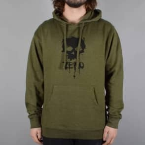 Zero Skateboards Blood Skull Pullover Hoodie - Army Green Heather