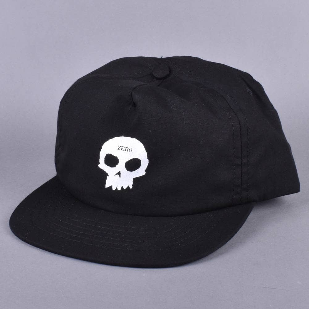 8e42bf0ac9e Zero Skateboards Single Skull Formless Snapback Cap - Black - SKATE ...
