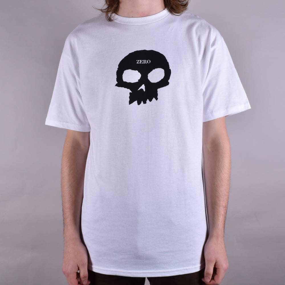 cd7062f82190 Zero Skateboards Single Skull Skate T-Shirt - White - SKATE CLOTHING ...