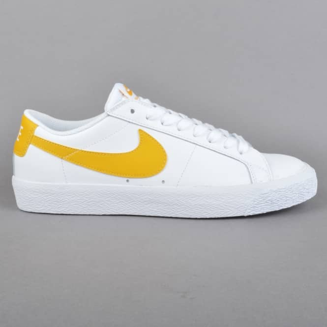 Nike SB Zoom Blazer Low Skate Shoes - White/Mineral Gold